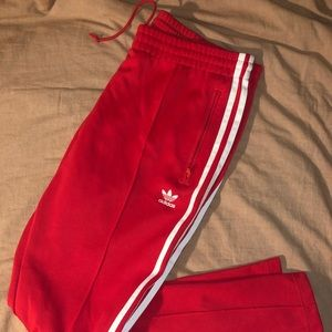 Women's Red Adidas Track pants